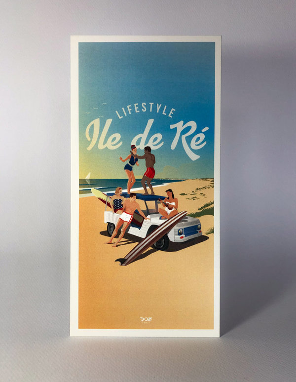 Carte Postale- Ile de Ré- After-surf- Méhari blanche